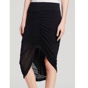 HELMUT LANG Stretch Jersey Ruched High Low Skirt